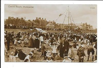 Old postcard, Lancs: 'Central Beach, Morecambe'. Posted. Real photo.