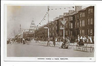 Old postcard, Lancs: 'Eidsforth Terrace & Tower, Morecambe'. 1912. 'Real photo'.