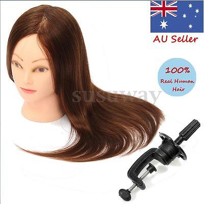 """24"""" 100% Real Human Hair Training Head Mannequin Hairdressing Practice Stand AU"""