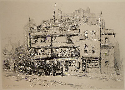 ERNEST GEORGE - Etching - Tower Hill, London (The Old George Inn) - 1884.