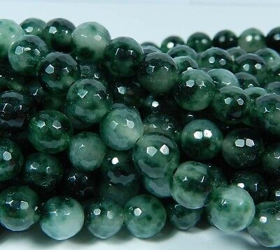 8mm Emerald Faceted Round Loose Beads Gemstone 15""