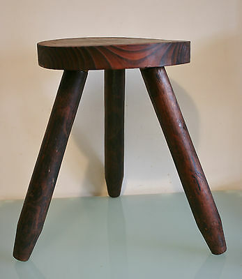 """Vintage French Wooden Round Stool 3 Straight Legs 15"""" (38cm) Tall"""