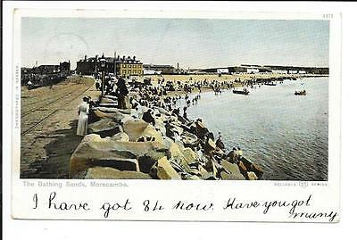 Old postcard, Lancs: 'The Bathing Sands, Morecambe'. Posted 1903.