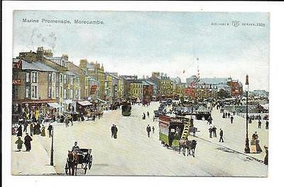 Old postcard, Lancs: 'Marine Promenade, Morecambe'. Posted 1905.