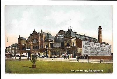 Old postcard, Lancs: 'Winter Gardens, Morecambe'. Posted 1907.