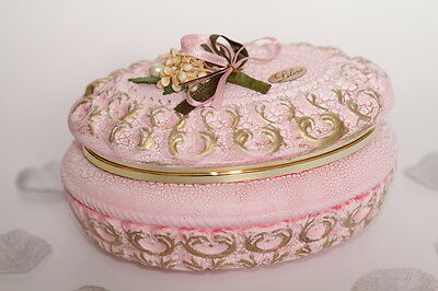 2 x Italian Pink & Gold handcrafted. vintage jewellery/ trinket box, H:8cm, gift