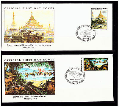 Marshall Islands:1992. Rangoon Falls to Japanese/Land On New Guinea Covers. 1112