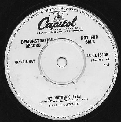 NELLIE LUTCHER my mother's eyes 1959 UK CAPITOL DEMO 45