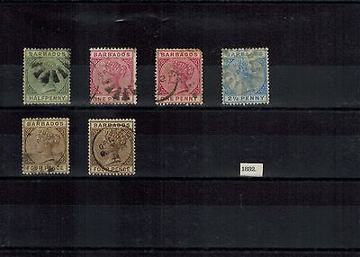 Barbados Qv 1882 Early Vintage Duplicated Selection Of Used Stamps