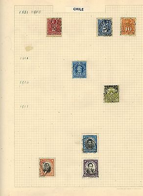 Chile 1881 - 1944 Selection Of Hinge Mounted Stamps On 4 Album Pages