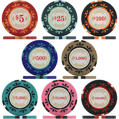 Crown Casino Royale Poker Chips & Poker Chip Sets, 14g Clay Composite