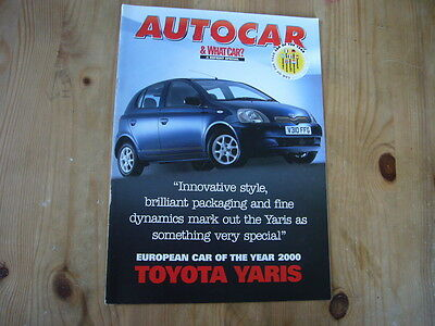 Toyota Yaris brochure produced by Autocar, 2000, excellent condition