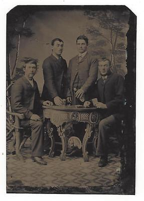 Antique Tintype Photo 4 Handsome Young Men Playing Cards Drinking
