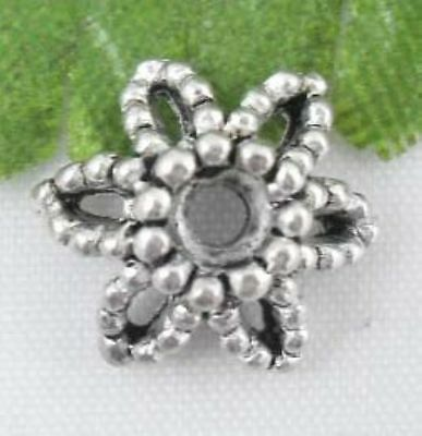 46Pcs Silver Plated flower beads Caps 9x4.5mm(Lead-free)