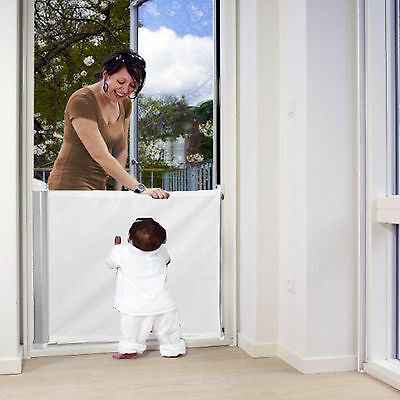 New Woolibaloo White Deluxe Retractable Stair Gate Baby Safety Barrier