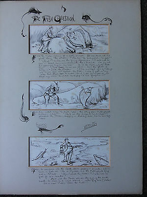 James Frank Sullivan - Original Pen + Ink Illustration/cartoon - Sea Fishing