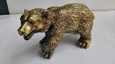 Collectible Decorated Old Handwork Bronze Carved Bear Statue NR