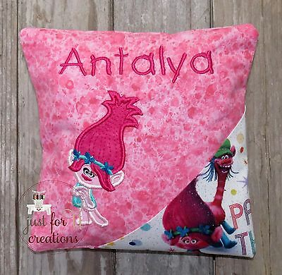 Girl's Personalized Embroidered Girl Glitter Troll Design Tooth Fairy Pillow