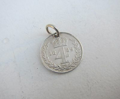 Old Victoria Fourpence Silver Coin 1889 with Charm loop
