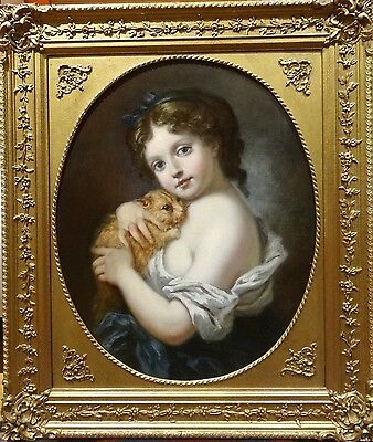 Fine 19th Century French Master Girl & Kitten Portrait Antique Oil Painting