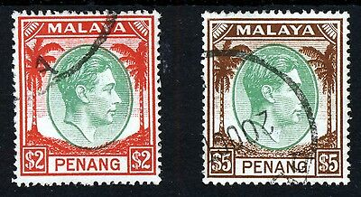 PENANG MALAYA KG VI 1949-52 Definitive $2 & $5 High Values SG 21 & SG 22 VFU