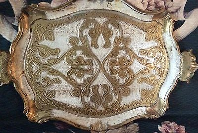 Italian White & Gold Toleware Tray - Norleans Italy - 16 1/2 X 11 3/8 Inches