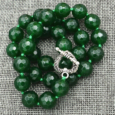 """12mm Natural Emerald Faceted Beads Necklace 18"""" Tibetan silver love clasps"""