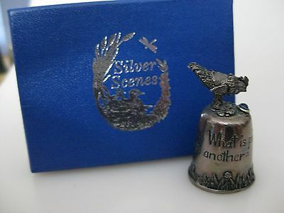 PEWTER Thimble - Silver Scenes Chicken with SAYING