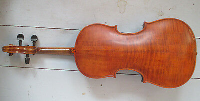 Antique Violin with Stamped & Spliced neck-Figured Back - NE with a Crown