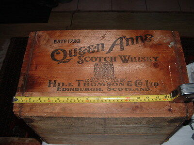 Vintage Queen Ann Wooden  whisky Crate Stamped By Appointment   To The queen