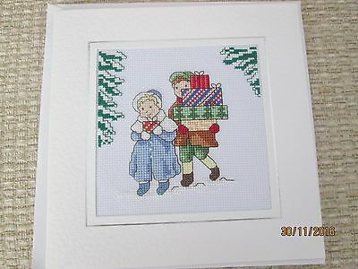 Large completed Cross stitch Christmas Card