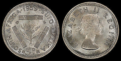 South Africa 3 Pence 1959 (Choice Unc) *premium Quality*