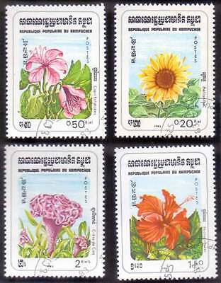 CAMBODIA/KAMPUCHEA (04/2) 1983 Flowers 4 Diff. Stamps ! Gift Children !