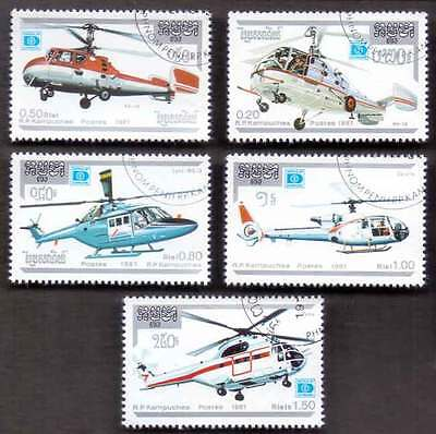 CAMBODIA/KAMPUCHEA (17/2) 1987 Helicopters Aviation 5 Diff. Stamps !