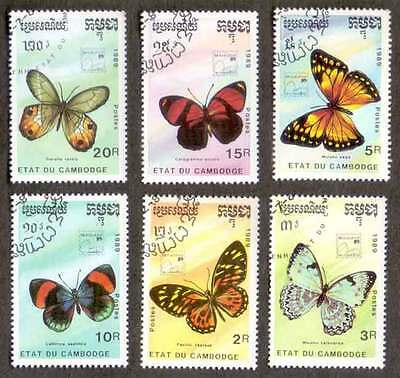 CAMBODIA/KAMPUCHEA (22/2) 1989 Butterfly 6 Diff. Stamps ! Gift Children !