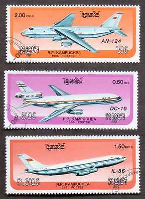 CAMBODIA/KAMPUCHEA (11/2) 1986 Aeroplanes Aviations 3 Diff. Stamps !