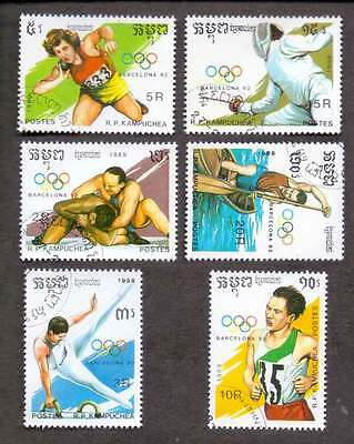 CAMBODIA/KAMPUCHEA (25/2) 1989 Olympic Games Sport 6 Diff. Stamps !