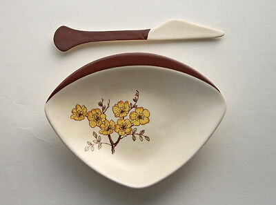 1950s Carlton Ware Mimosa Pattern Dish and Knife / Spreader, Butter Dish Retro