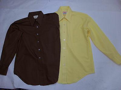 ARROW Vtg 60s Brown + Yellow Pointy Long Collar Button Front Dress Shirt 16 34