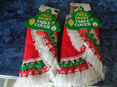 """2 vtge classic tree skirts table covers Rubie's 1991 New Old Stock 22"""" diameter"""