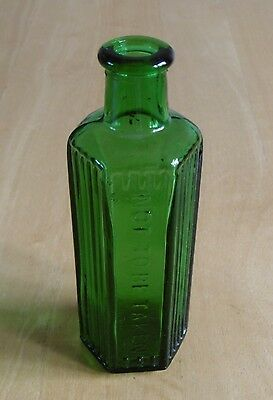 "Antique Victorian Green Glass ""Not To Be Taken"" Hexagonal Poison Bottle"