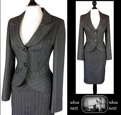 33 Next size 8 40's 50's Vintage pencil skirt suit ladies grey pinstripe womans