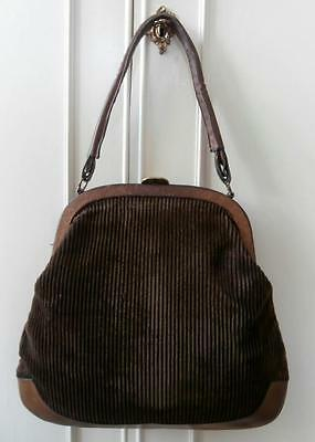 Vintage 1950's Rockabilly Tan Leather & Dark Brown Corduroy Hand Bag Dolly Bag