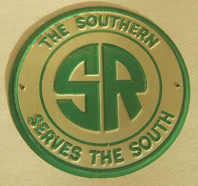 ONE Vintage Metal Post Cereal THE SOUTHERN SERVES THE SOUTH Railroad Emblem Sign