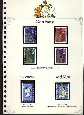 Postage stamps 25th Anniversary Coronation: Great Britain, Guernsey, Isle of Man