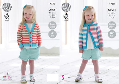 Easy Knit Girls Long Sleeve Raglan Cardigan Knitting Pattern King Cole Aran 4752