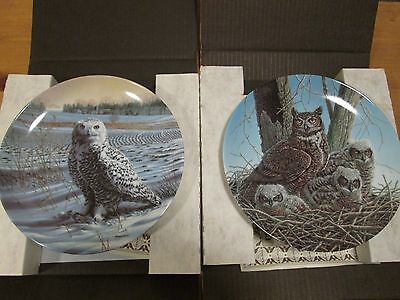 2 X Edwin M Knowles Collectors Plates - Stately Owls Series (No's 1 & 2) Boxed