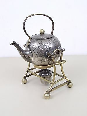 Antique Silver? Tea Pot With Stand and Warmer.
