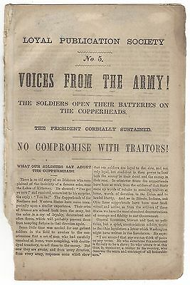 1863 Loyal Publication Society no 5 Voices From the Army Copperheads Civil War