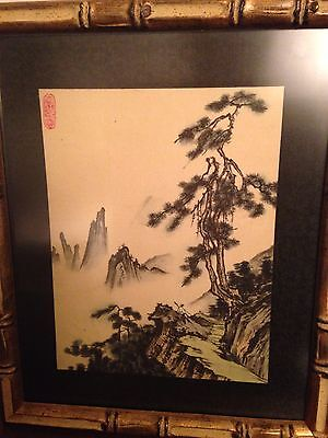 Vintage Chinese Ink  Painting Mountains With Figure Oval Seal (positive)